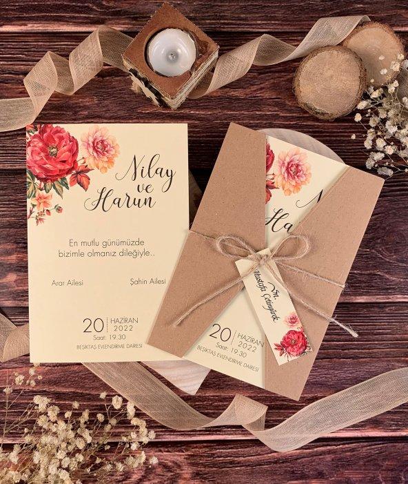 Kraft Katlanır Çiçekli İplikli Düğün Ve Nişan Davetiyesi 100 Adet