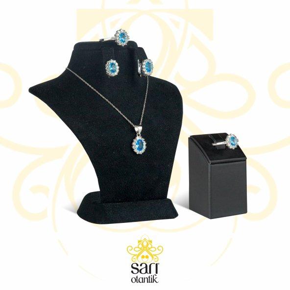 Yüzük Küpe Kolye Seti Blue Topaz 925 Ayar Gümüş Kadın S00520
