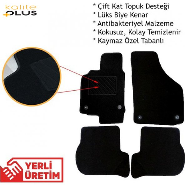 Nissan Micra 2012 Model Premium Halı Paspas Seti Siyah KalitePlus