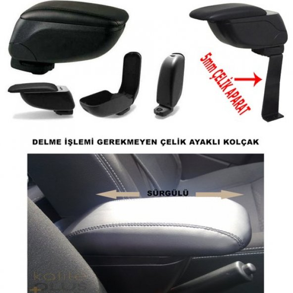 Fiat Albea 2005 Model Kolçak Kol Dayama Delme Yok KalitePlus Siyah