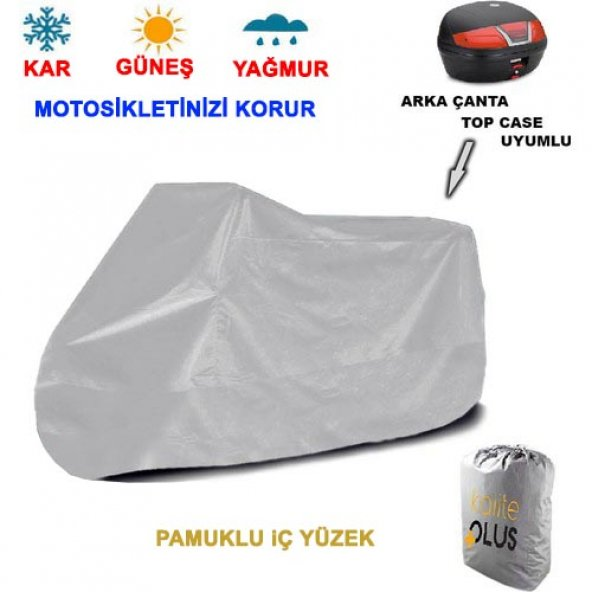 Sym Wolf Classic 150  Arka Çanta Uyumlu Motosiklet Örtü Branda KalitePlus