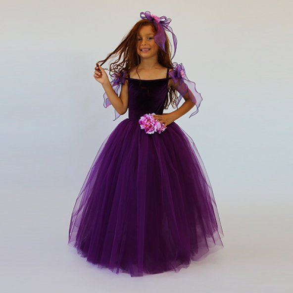 Mor Prenses Kostümü - Kabarık Mor Elbise - Taç Hediye - Lüks - Tameris Kostüm