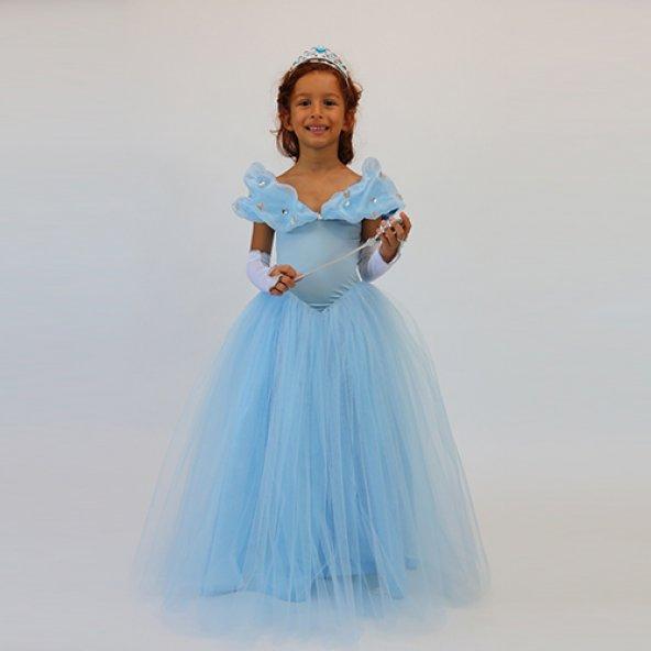 Sindirella Kostümü - Kabarık Prenses Kostümü Eldiven Asa Taç HEDİYE - Tameris Kostüm