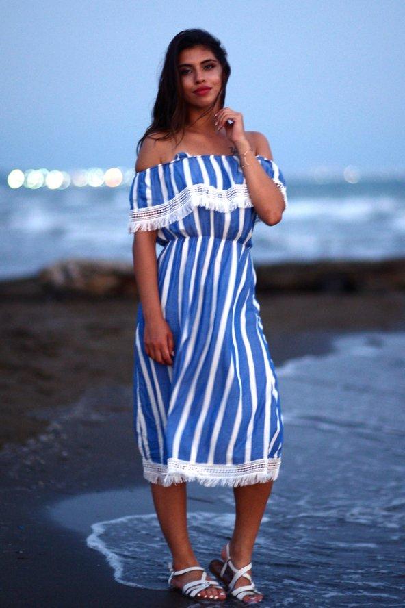 Çizgili Yazlık Mavi Kısa Elbise