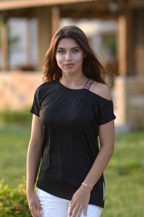 Omuz Şeritli Siyah T-Şört