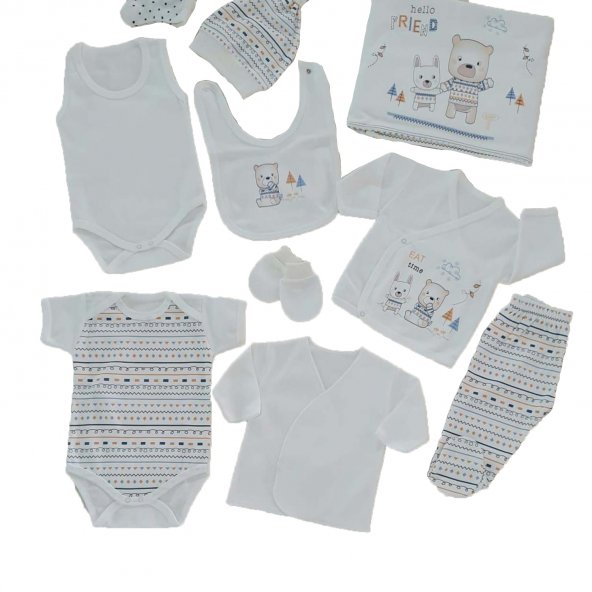 Erkek Bebek Ayıcık Tavşan Baskılı 10 Parça Hastane Çıkış Seti Beyaz - C72537