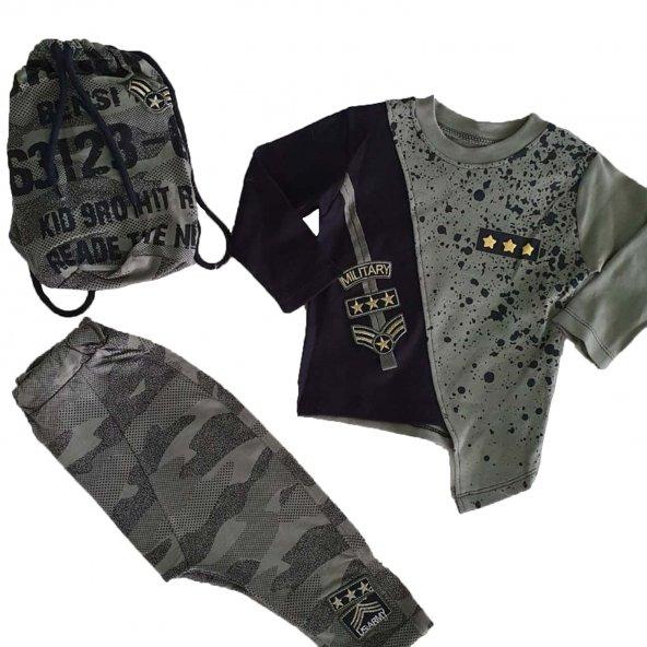 Erkek Bebek Çantalı Asimetrik Kesim Haki-Siyah 2-3 Yaş Takım - C71829