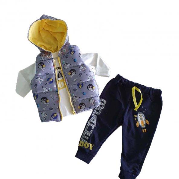 Erkek Bebek Uzay Baskılı Şişme Yelek Kapşonlu 6-18 Ay Eşofman Takımı Gri - C72731