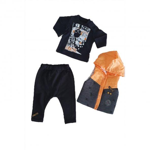 Erkek Bebek Şişme Yelekli Kapşonlu 6-18 Ay 3lü Takım Turuncu-Siyah - C71353