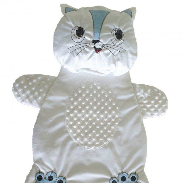 Erkek-Kız Bebek Kedi Şekilli Alt Açma Minderi Beyaz - C72507
