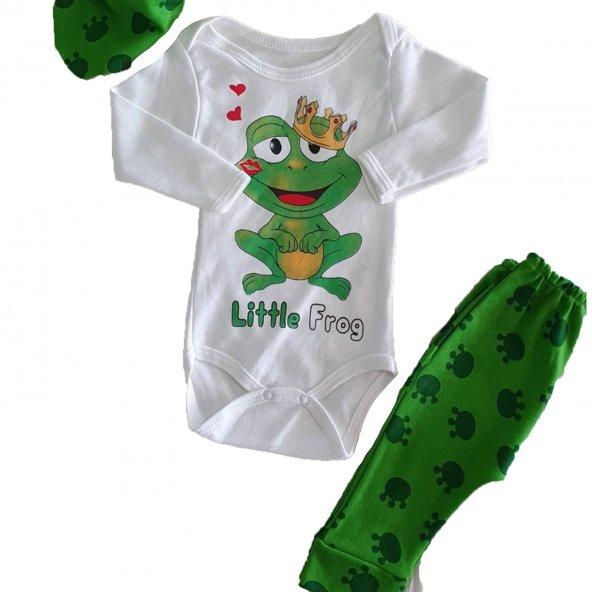 Kız-Erkek Bebek Kurbağa Baskılı 0-3 Ay Yeşil Takım - C73233-3k