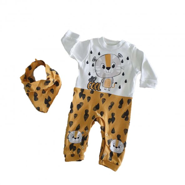 Erkek Bebek Fularlı Aslan Modelli 0-9 Ay Tulum Sarı - C72503