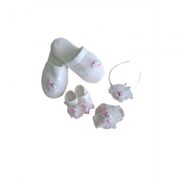 Anne & Bebek Tül ve Çiçek Detaylı Terlik Patik Hastane Çıkışı Pembe - C72866-1