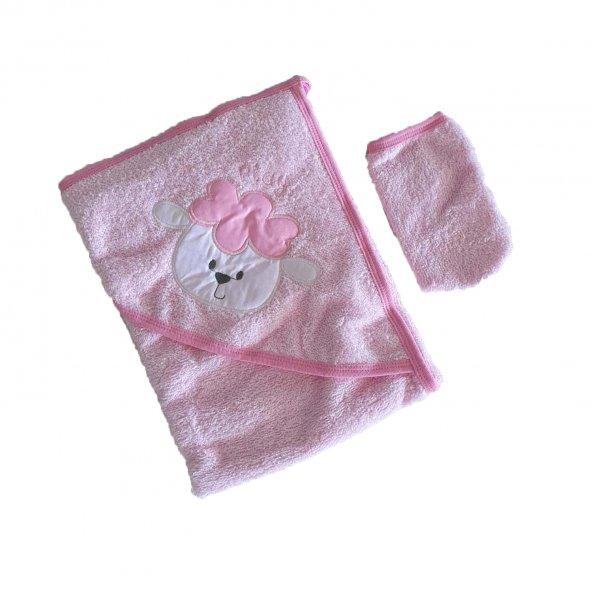 Kız-Erkek Bebek Tavşan Baskılı Havlu Kese Seti Pembe - C71952