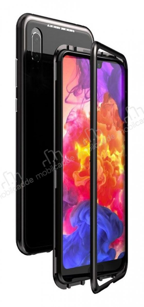 Dafoni Glass Guard Huawei P30 Lite Metal Kenarlı Cam Siyah Kılıf