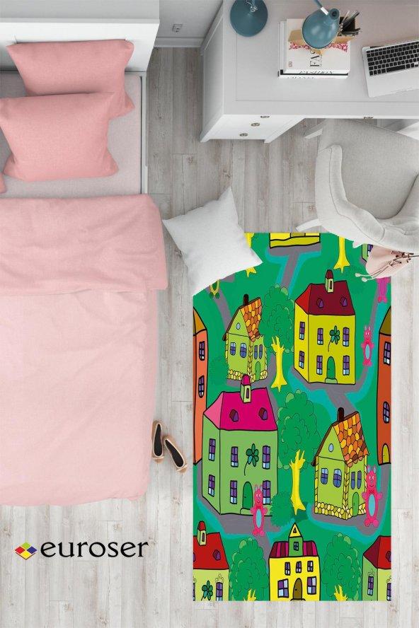 EUROSER Renkli Evler Desenli Çocuk Halısı