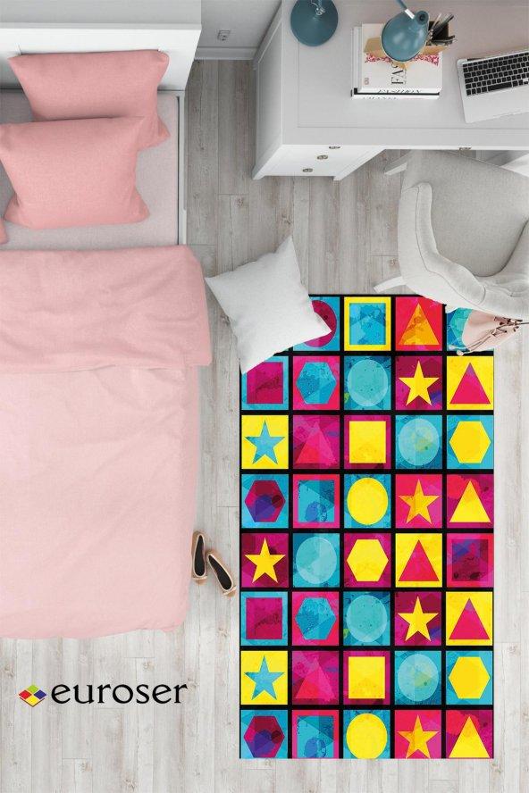 EUROSER Renkli Geometrik Şekiller Desenli Çocuk Halısı