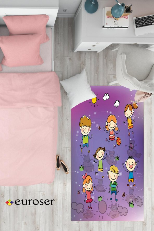 EUROSER Sevimli Çizgi Çocuklar Desenli Çocuk Halısı