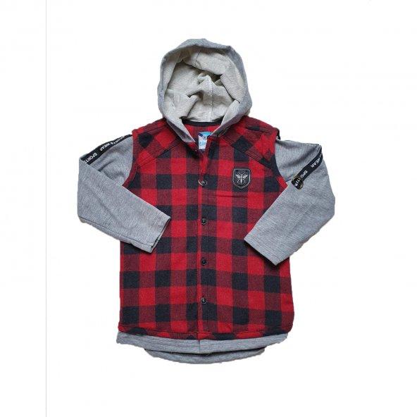 Erkek Bebek Kol Şeritli Kapşonlu Gömlek 2-5 Yaş Kırmızı - C73503