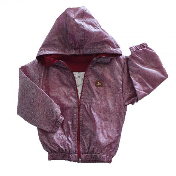 Erkek Bebek Armalı Kırçıllı Modelli Yağmurluk 1-3 Yaş Bordo - C72734