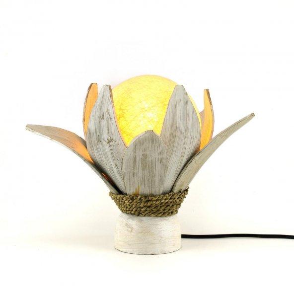 24cm Dekoratif Masaüstü Beyaz Yaprak Lamba, El Yapımı