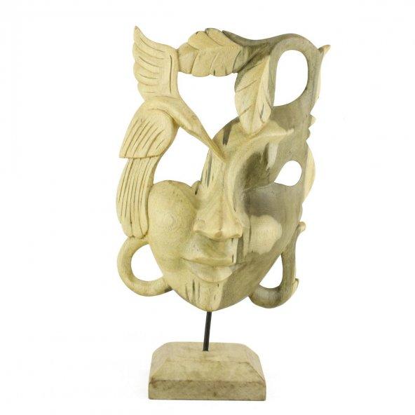 30cm Dekoratif Ahşap Otantik Maske, Doğal El Oyması
