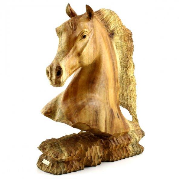 40cm Ahşap At Kafası Figürü, El Oyması, Dekor, Obje, Biblo