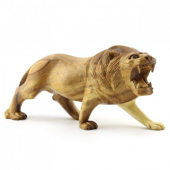 30cm Genişliğinde Dekoratif Ahşap Aslan Figürü, El Oyması Doğal
