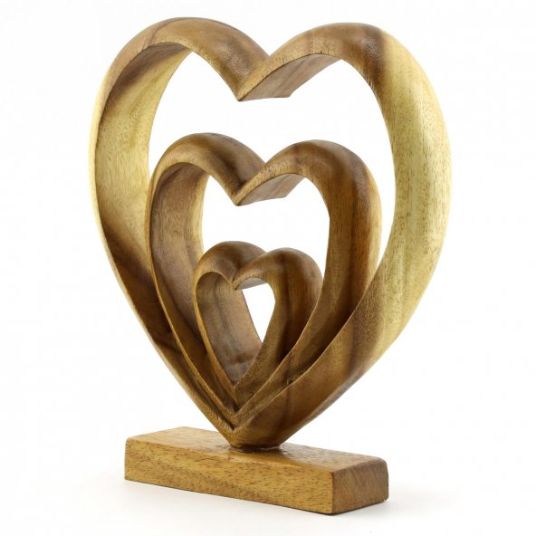 27cm Dekoratif Ahşap Üçlü Kalp Figürü, El Oyması, Biblo, Obje