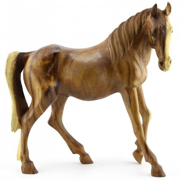 50cm Dekoratif Ahşap Yürüyen At Figürü, El oyması, Biblo