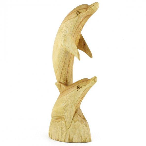 30.5cm Dekoratif Ahşap İkili Yunus Figürü, El Oyması Biblo