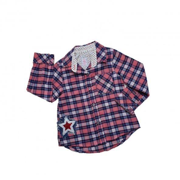 Kız Bebek Yıldız Modelli Ekose Gömlek 6-24 Ay Yavruağzı - C71230