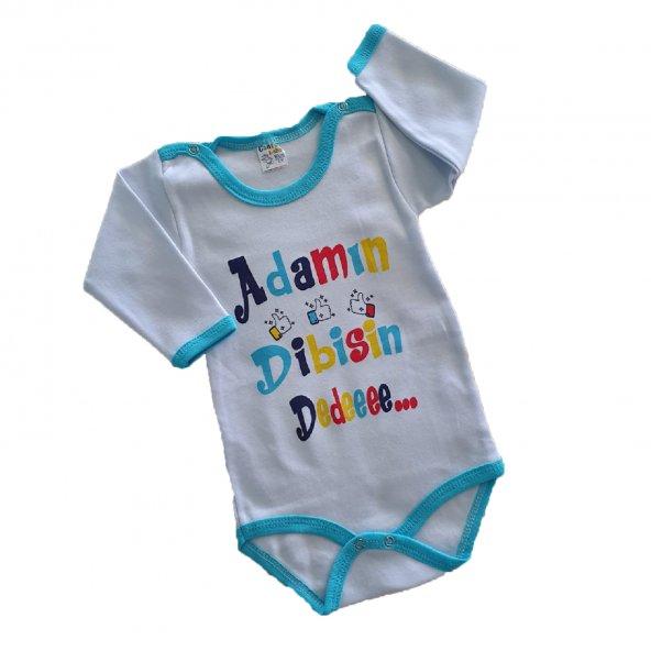 Erkek Bebek Adamın Dibisi Yazılı Uzun Kollu Çıtçıtlı Zıbın 1-2 Yaş Turkuaz - C71411