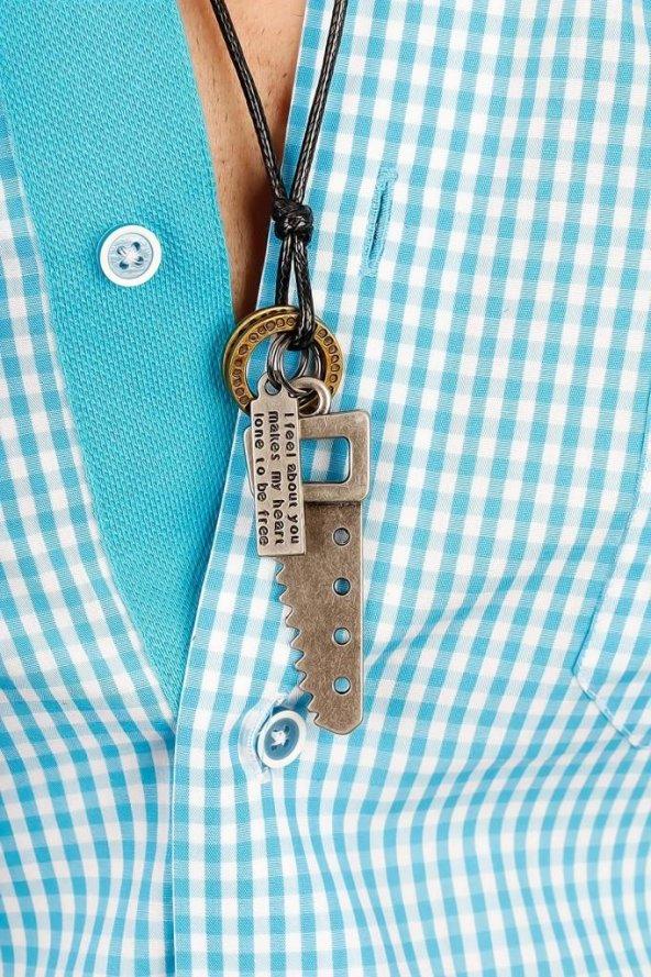 Otantik Testere Figürlü Erkek kolye