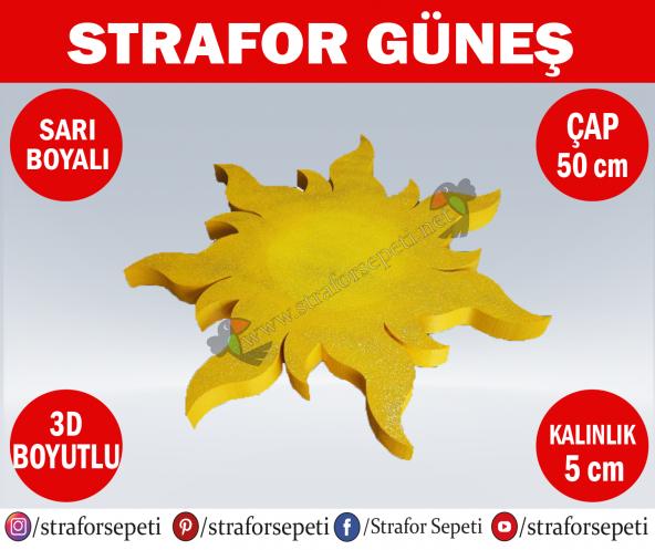 Strafor Sepeti - Strafor Güneş Çap 50 cm Boyalı, Strafor Dekor, Strafor Parti, Strafor Doğum Günü