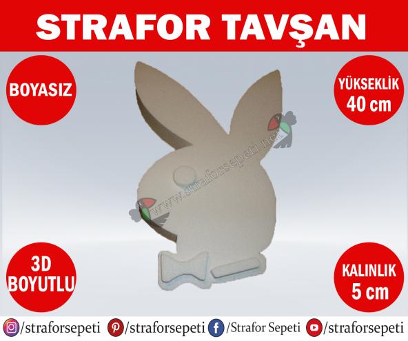Strafor Sepeti - Strafor Tavşan 40 cm Boyasız, Strafor Dekor, Strafor Parti, Strafor Doğum Günü