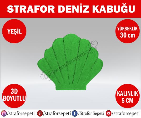 Strafor Sepeti - Strafor Deniz Kabuğu 30 cm yeşil Strafor Dekor, Strafor Parti, Strafor Doğum Günü