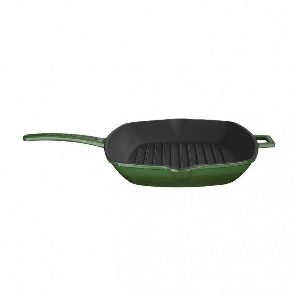 Lava Döküm Izgara Tava Metal Saplı Ölçü 26x32cm Yeşil