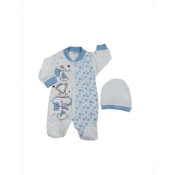 Kız-Erkek Bebek Fil Modelli Şapkalı Tulum Takımı Mavi 3-9 Ay - C73612-2