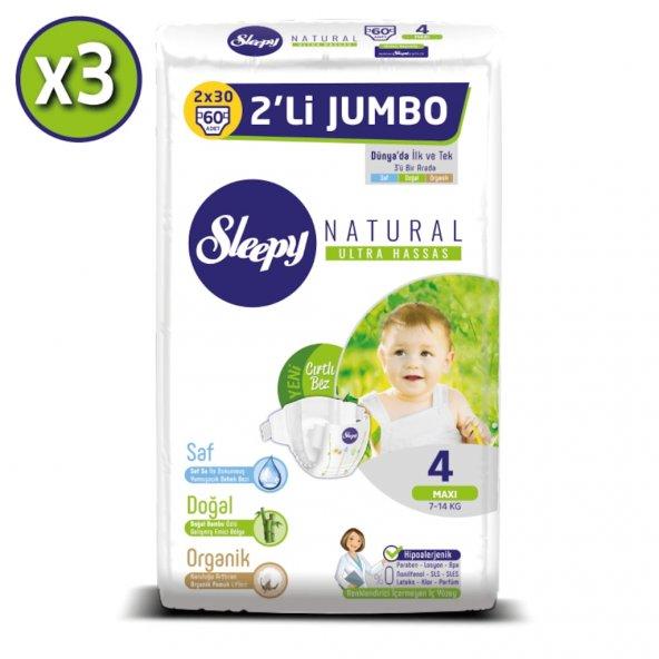 Sleepy Natural Bebek Bezi 4 Numara Maxi  3X2Lİ JUMBO 180 li