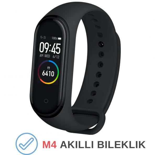 M4 Akıllı Bileklik Kol Bandı Fitness Saat Renkli Ekran Adım Sayar Nabız Kalori Ölçer İOS & Android Uyumlu