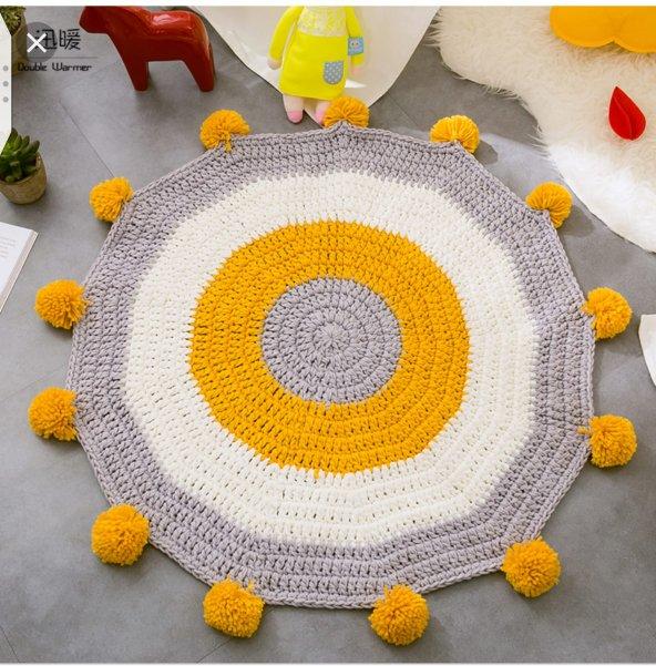 Çocuk Odası Halısı,Genç Odası Halısı Ponponlu- Hardal Sarısı