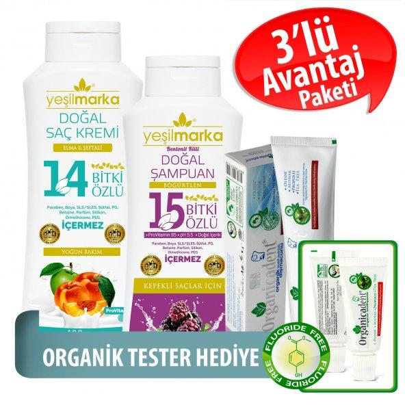 Organicadent Florürsüz Organik Diş Macunu 50 ml 14+15Bitki Özlü Doğal Şampuan ve Saç Kremi Hediye B