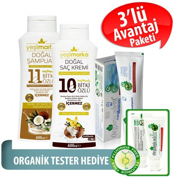 Organicadent Florürsüz Organik Diş Macunu 50 ml 10+11Bitki Özlü Doğal Şampuan ve Saç Kremi Hediye B