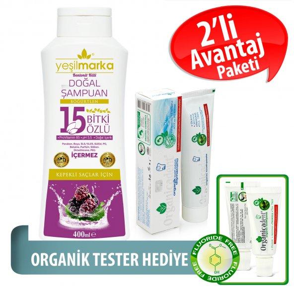 Organicadent Florürsüz Organik Diş Macunu 50 ml 15Bitki Özlü Doğal Şampuan Hediye B