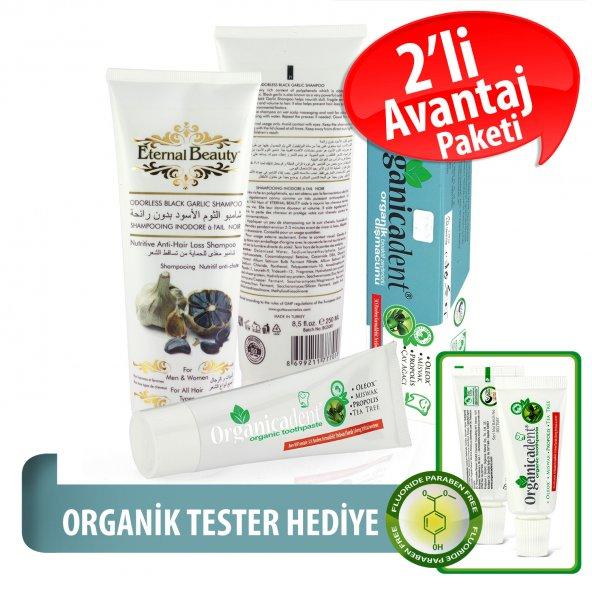 Organicadent Florürsüz Organik Diş Macunu 50 ml Siyah Sarımsaklı Doğal Şampuan Hediye T