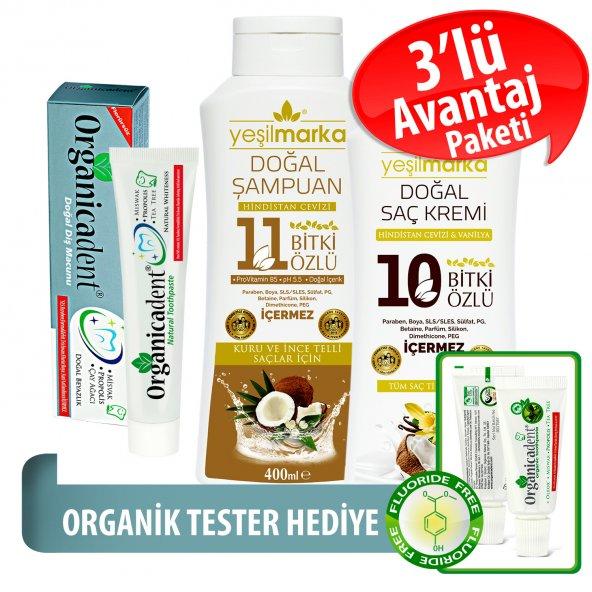 Organicadent Florürsüz Doğal Diş Macunu 75 ml 10+11Bitki Özlü Doğal Şampuan ve Saç Kremi Hediye