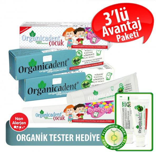 Organicadent Florürsüz Doğal Çocuk Diş Macunu 50ml + Organik 50ml x2 T