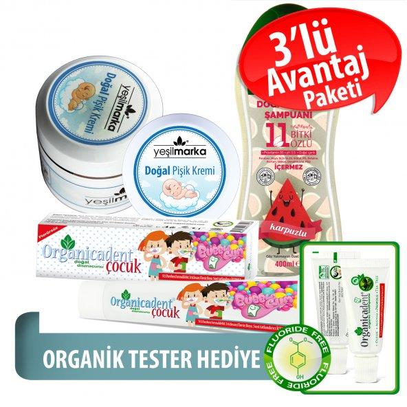 Organicadent Florürsüz Doğal Çocuk Diş Macunu 50 ml Karpuzlu Doğal Bebek Şampuanı Pişik kremi Hediye