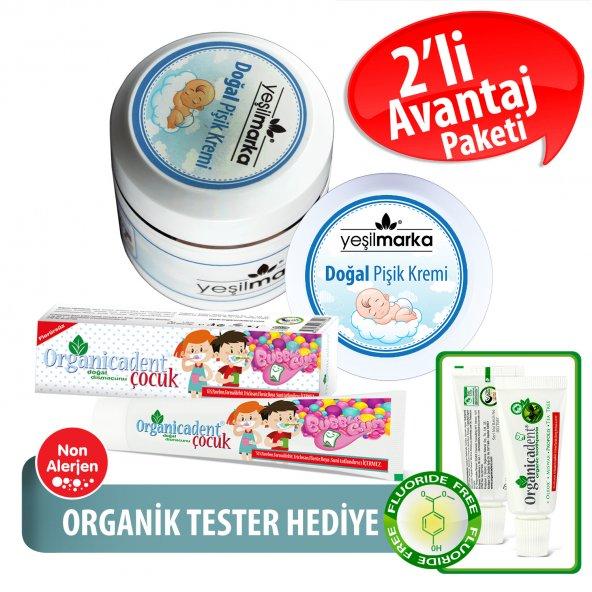 Organicadent Florürsüz Doğal Çocuk Diş Macunu 50 ml Doğal Bebek Pişik Kremi Hediye